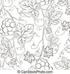Seamless grape pattern black and white.