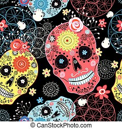 Seamless graphic pattern from cheerful ornamental skulls on...