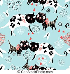 Seamless graphic pattern of enamored cats