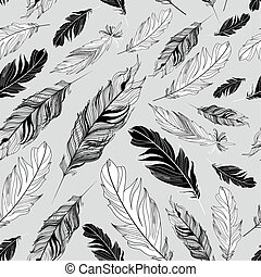 Seamless graphic pattern of feather