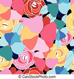 Seamless graphic pattern of flowers - Abstract seamless...