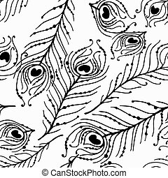 Seamless graphic pattern of peacock feathers