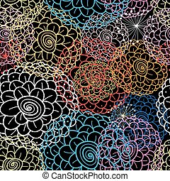 Seamless graphic pattern with beautiful flowers