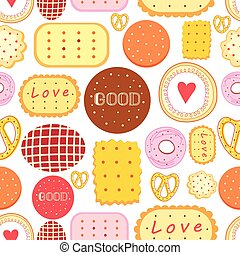 Seamless graphic pattern with delicious cookies