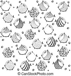 seamless graphic pattern with fish