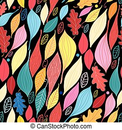 Seamless graphic pattern with large leaves
