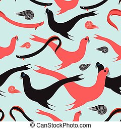 Seamless graphic pattern with sea lions
