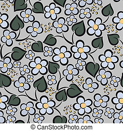 Seamless gray flowers