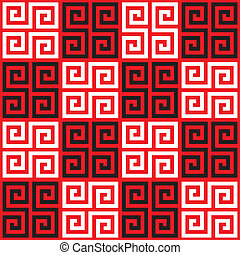 Seamless Greek Key Pattern - Seamless Checkered Oriental...