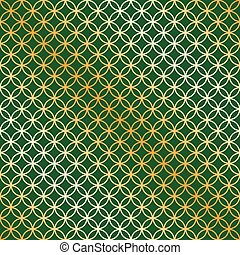 Seamless green and gold circle intersect pattern