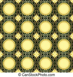 seamless green and gold pattern - vector