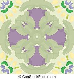 Seamless Green and Purple Pattern