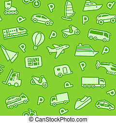 Seamless green background, green transport icons