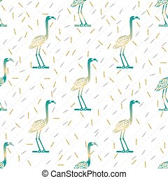 seamless green bird with silver and gold glitter pattern background