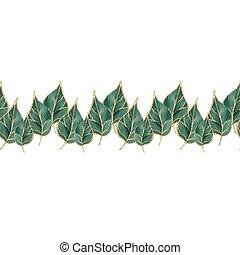 Seamless green border leaves