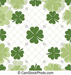 seamless green clover with silver dot glitter pattern background.