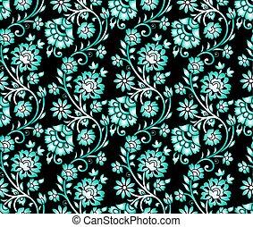 Seamless green floral design on black background