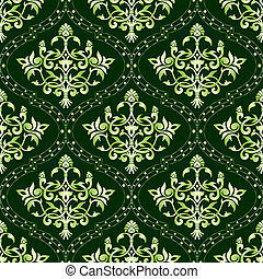 Seamless green floral pattern
