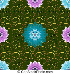 Seamless green floral pattern with blue and pink flowers (vector EPS 10)