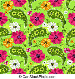 Seamless green floral pattern with vivid flowers and paisleys (vector)