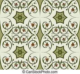 Seamless green floral vector pattern.