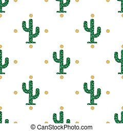 seamless green glitter cactus with gold polka dot glitter pattern on white background