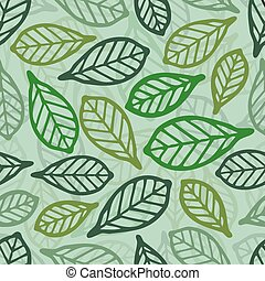 seamless green leaf pattern background