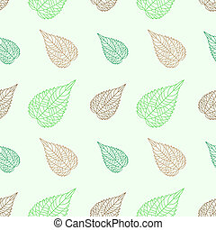 Seamless green leaves mosaic background