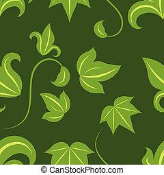 Seamless green leaves vector pattern on dark background.