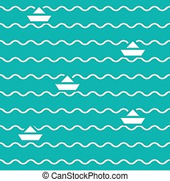 Seamless green pattern of waves