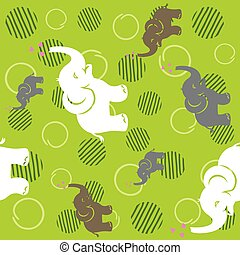 Seamless green pattern with funny elephants