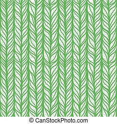Seamless green pattern with hand drawn stylized doodle leaves