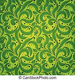 Seamless green pattern with leaves and dots