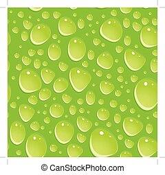 Seamless green pattern with water drops.