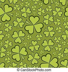 Seamless green shamrock shapes vector background.