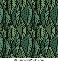 Seamless green texture with stylized leaves.