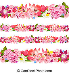 seamless, grens, van, beauty, flowers., set