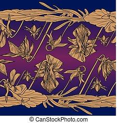 seamless, grens, van, viooltjes