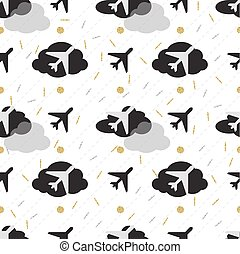 seamless grey airplane in night sky with gold and silver glitter pattern background