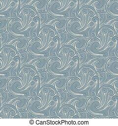 Seamless grey blue engraving pattern