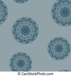 Seamless grey-blue floral pattern