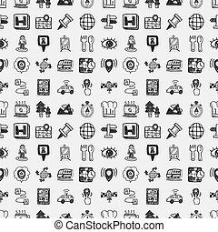 seamless, griffonnage, carte, gps, emplacement, icônes, modèle