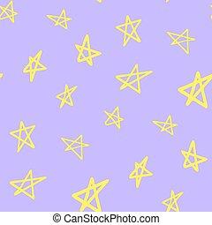 seamless, griffonnage, mignon, modèle, vecteur, dessin animé, dessin, étoiles