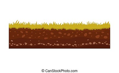 Seamless ground, soil and land vector image for UI games. ...
