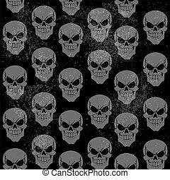 Seamless grunge pattern of gray grinning skulls on black background