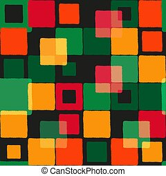 Seamless grunge pattern with multicolored squares
