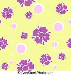 Seamless grungy green retro floral background