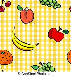 seamless, grungy, vruchten, op, gele, gingangpatroon