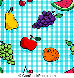 seamless, grungy, vruchten, op, ontsteken blauw, gingangpatroon