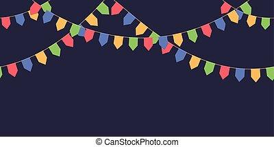 seamless, guirnalda, con, celebración, banderas, cadena, rojo, azul, verde, amarillo, pennons, en, fondo oscuro, pie página, y, bandera, para, decoración
